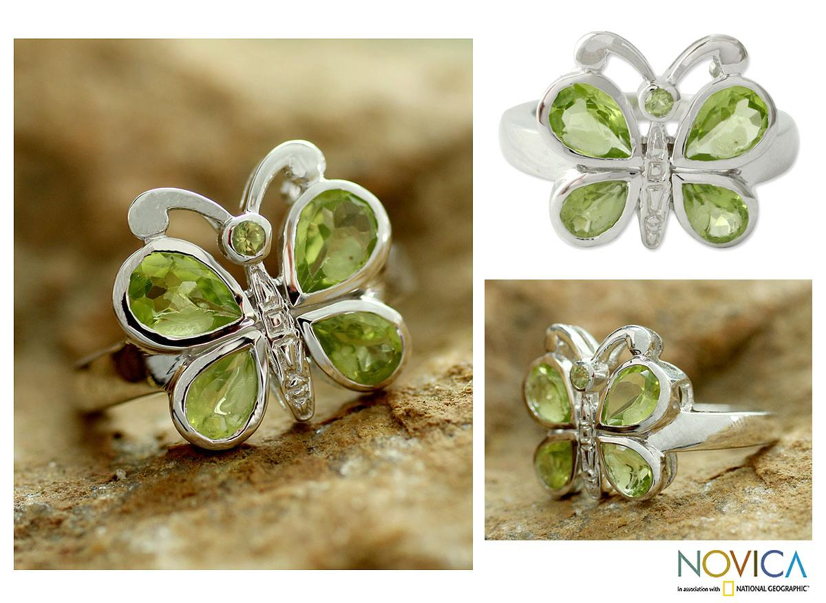 Sterling Silver 'Butterfly' Peridot Cocktail Ring (India)