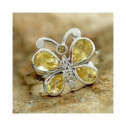 Sterling Silver 'Butterfly' Citrine Cocktail Ring (India)