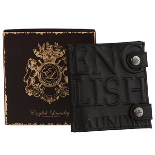 English Laundry Men's Black Double Snap Wallet