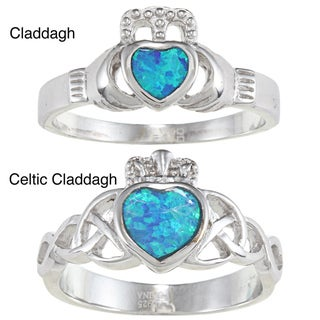 La Preciosa High-polish Sterling Silver Blue Heart Opal Ring