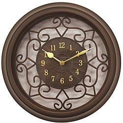 Geneva 15-inch Brown Plastic/ Wrought Iron Wall Clock