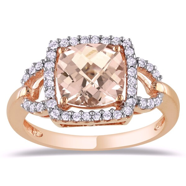 Miadora 10k Rose Gold 2-1/4ct Cushion-cut Morganite and 1/5ct TDW Diamond Halo Cockatil Ring (G-H, I2-I3)