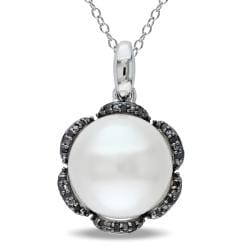 Miadora Sterling Silver Pearl and Black Diamond Accent Pendant
