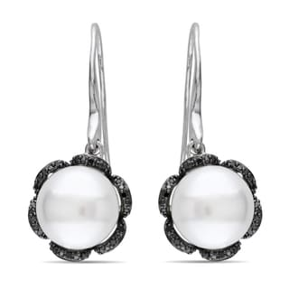 Miadora Sterling Silver Pearl and 1/10ct TDW Black Diamond Earrings
