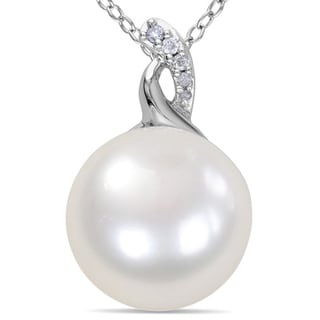 Miadora Sterling Silver Pearl and Diamond Accent Drop Necklace (G-H, I2-I3)