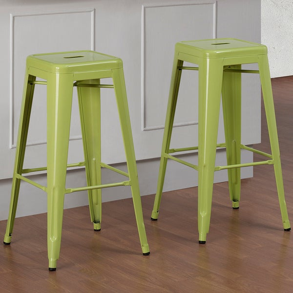 tabouret 30 inch limeade metal bar stools set of 2. Black Bedroom Furniture Sets. Home Design Ideas