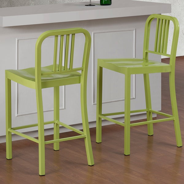 Limeade Metal Counter Stool Set Of 2