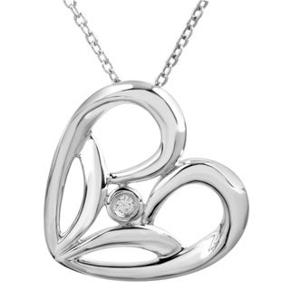 Bridal Symphony Sterling Silver Diamond Accent Heart Necklace