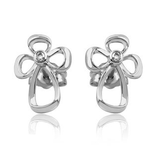 Sterling Silver Diamond Accent Open Cross Stud Earrings