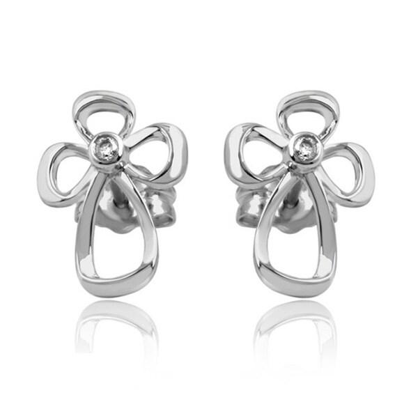 Bridal Symphony Sterling Silver Diamond Accent Cross Stud Earrings