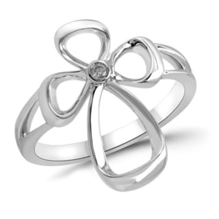Sterling Silver Diamond Accent Fashion Cross Ring