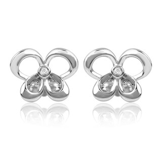 Bridal Symphony Sterling Silver Diamond Accent Butterfly Stud Earrings