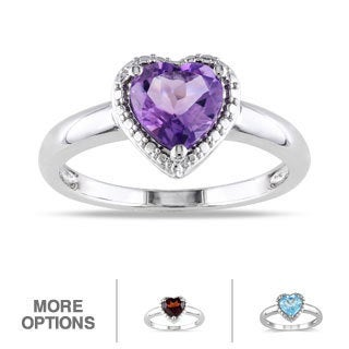 M by Miadora Sterling Silver Heart-shaped Birthstone Ring