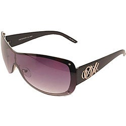 XOXO Women's Double Vision Black Shield Sunglasses