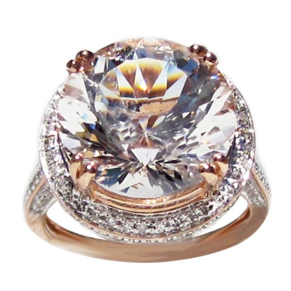 California Girl Jewelry 14k Rose-gold 8.14ct Danburite and Diamond Ring
