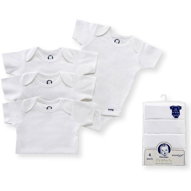Gerber Organic Onesies in White (Pack of 4)