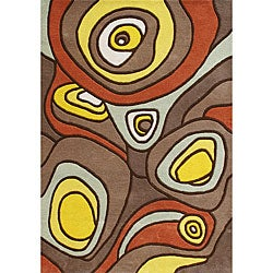 Alliyah Handmade Brown New Zealand Blend Wool Rug (5' x 8')