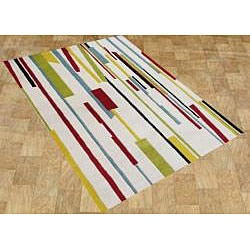 Metro Hand-made Cream New Zealand Blend Wool Area Rug (5' x 8')