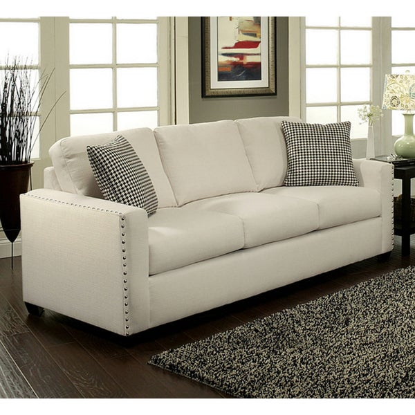 furniture of america neveah ivory contemporary sofa 14294869