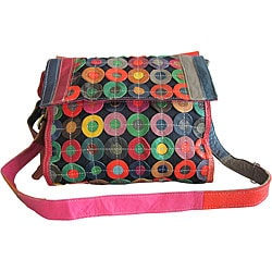 Amerileather 'Corin' Denim/ Leather Messenger Bag