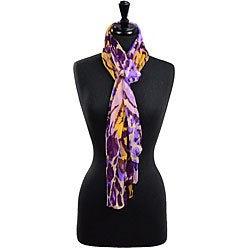 LA77 Women's Purple Animal Print Silk Scarf