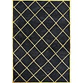 Metro Hand-made Black Wool Area Rug (5' x 8')