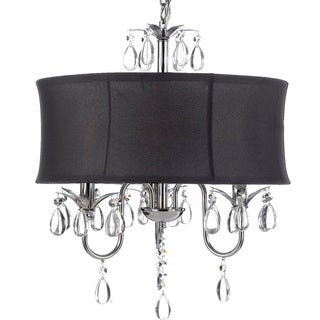 Gallery Crystal 3 Light Chandelier with Large Black Shade