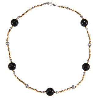 Zoe B Sterling Silver Golden Pyrite and Onyx Necklace (17-inch)