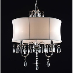 Crystal 3 Light Chandelier with Large White Shade