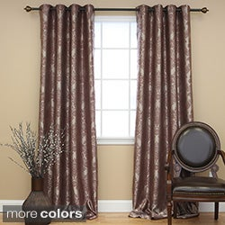 Traditional Damask Grommet 84 inch Curtain Pair