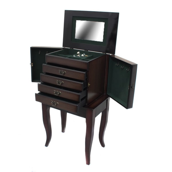 Hampton Wood Jewelry Armoire Cabinet Accent Table