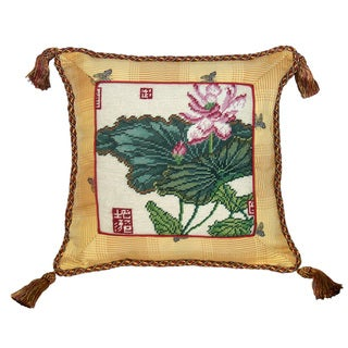 Lotus Needlepoint Tassel Decorative Pillow