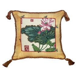 Lotus Needlepoint Tassel Decorative Pillow