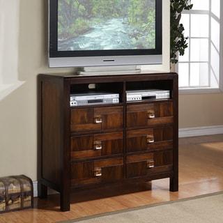 Birken Asymmetric Walnut Retro Modern 6-drawer TV Chest