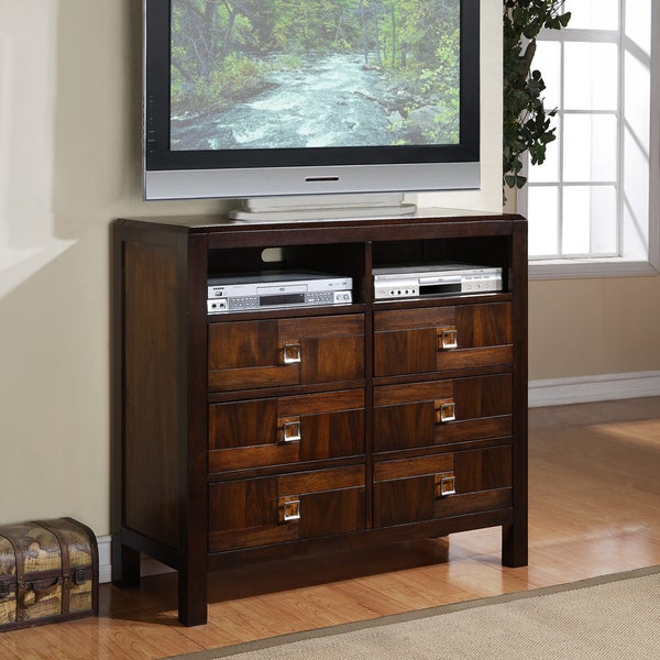 Birken Asymmetric Walnut Retro Modern 6-drawer TV Chest
