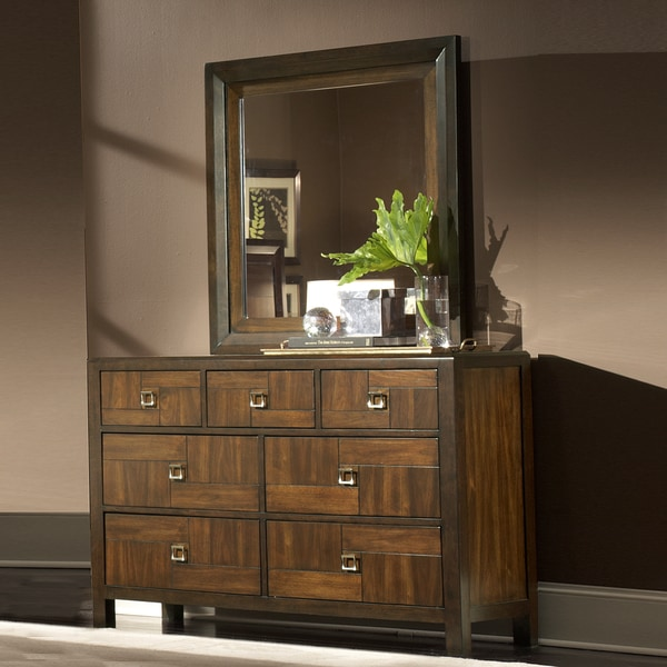 Birken Asymmetric Walnut Retro 7-drawer Dresser and Mirror