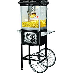 FunTime Sideshow Popper 4-oz Hot Oil Popcorn Machine with Black/ Silver Cart
