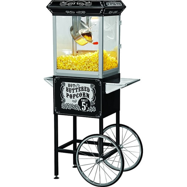 FunTime Sideshow Popper 4-oz Hot Oil Popcorn Machine with Black/ Silver Cart 9155529