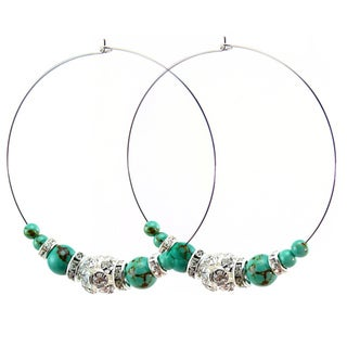 Pretty Little Style Turquoise Rhinestone Hoop Earrings