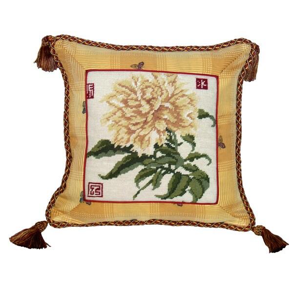 Peony Needlepoint Tassel Decorative Pillow