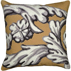 Yellow Scroll Needlepoint Decorative Pillow