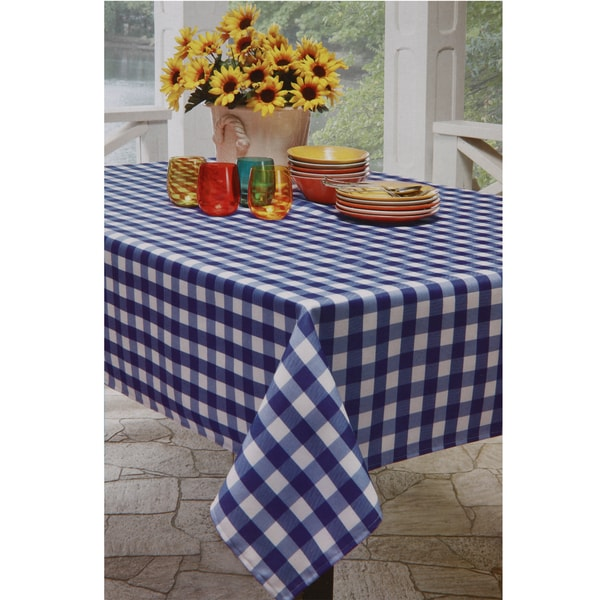 Blue and White Checkered Tablecloth