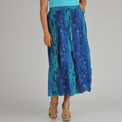 La Cera Women's Plus Reversible Printed Broomstick Skirt
