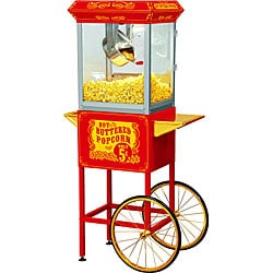 FunTime Sideshow Popper 4-oz Hot Oil Popcorn Machine with Red/ Gold Cart