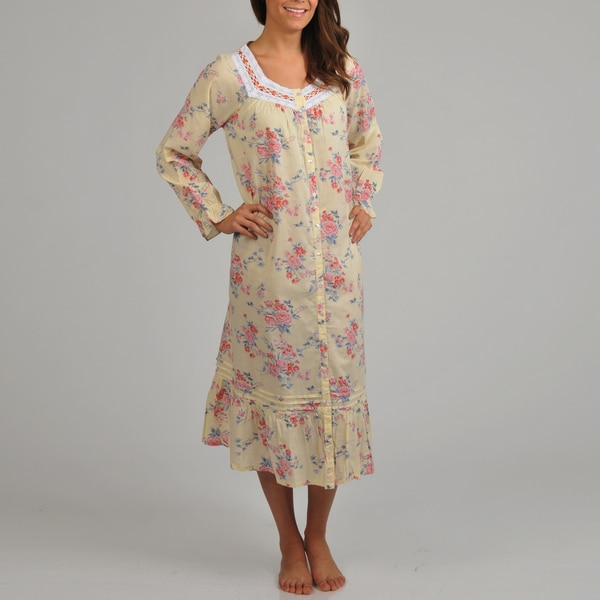 La Cera Women's Floral Print Cotton Long Sleeve Robe