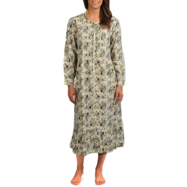 La Cera Women's Floral Print Long Sleeve Robe