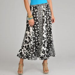 La Cera Women's Black/ White Pieced Floral Long Skirt