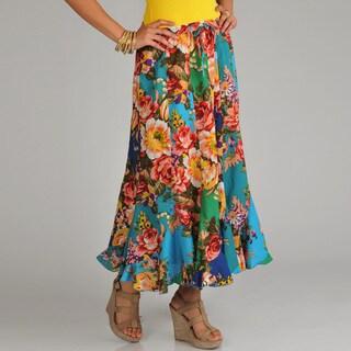 La Cera Women's Floral Print Swirl Skirt