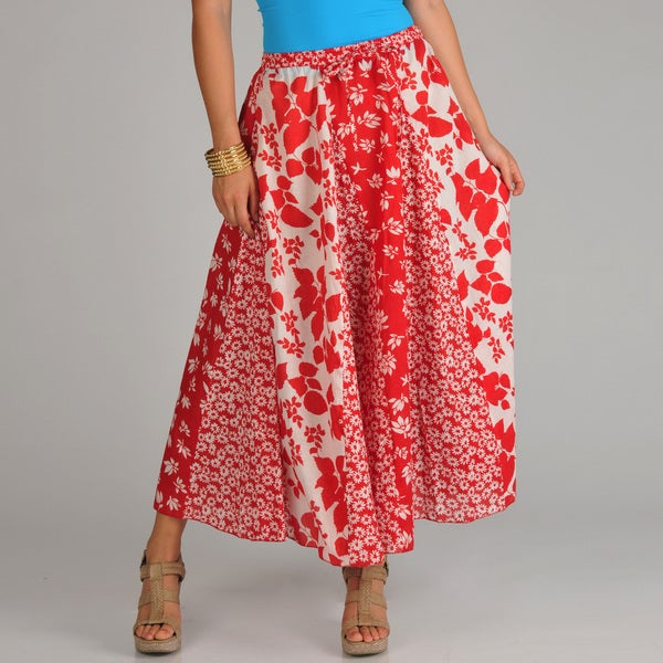 La Cera Women's Red/ White Multi Floral-print Stripwork Swirl Skirt