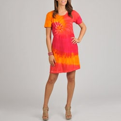 La Cera Women's Tie Dye Print Short Sleeve Dress